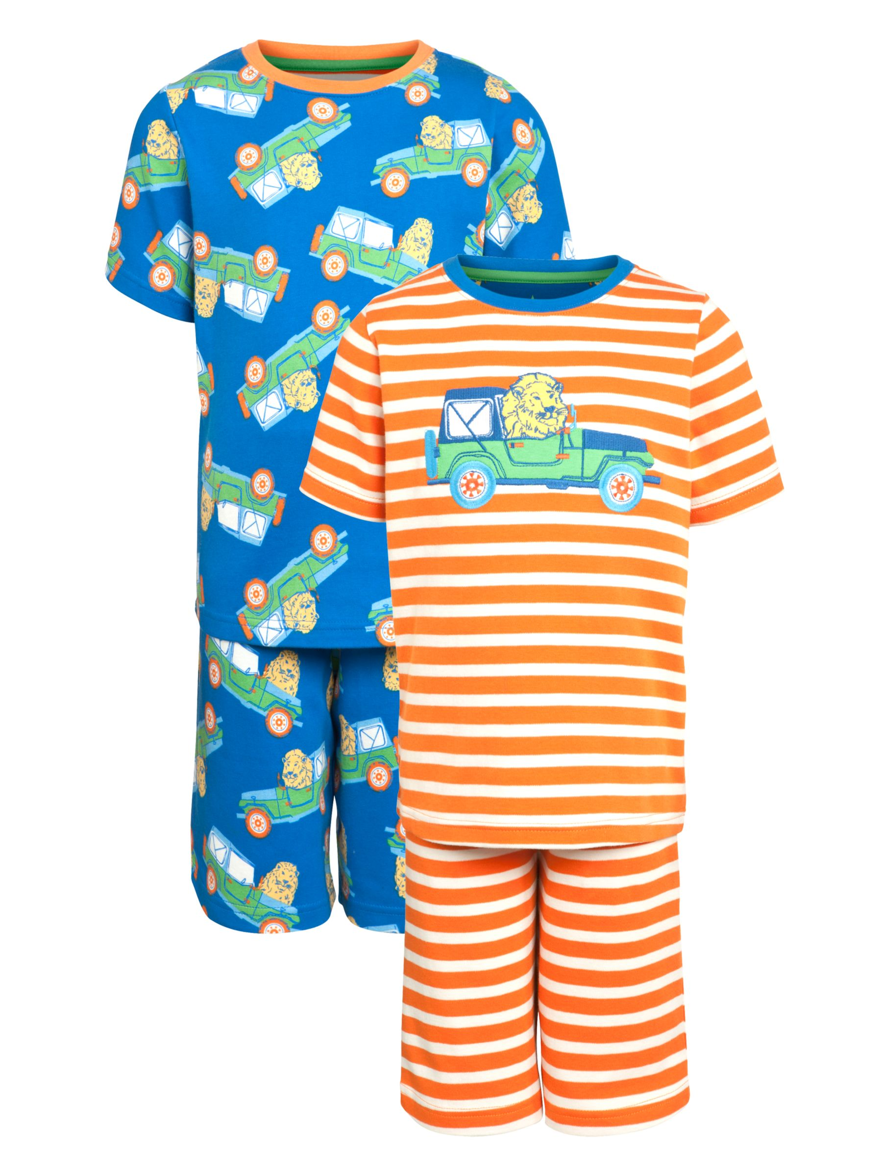 John Lewis Boy Lion Stripe Short Pyjamas, Pack of 2, Orange/Navy