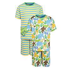 Buy John Lewis Boy Jungle Croc Short Pyjamas, Pack of 2, White/Multi Online at johnlewis.com
