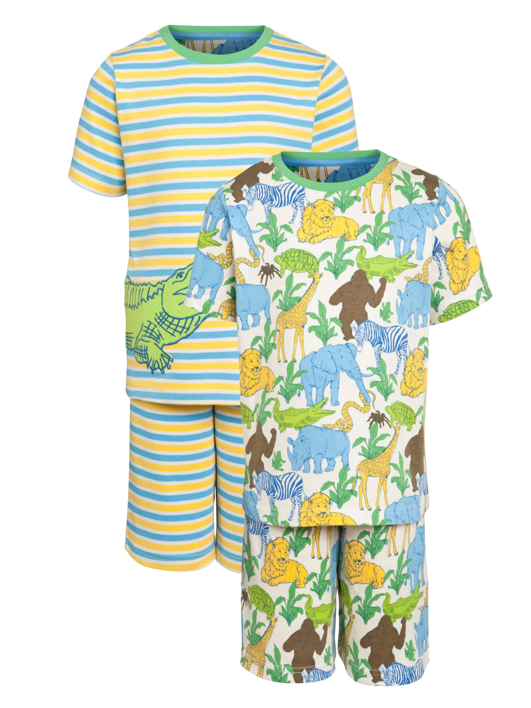 John Lewis Boy Jungle Croc Short Pyjamas, Pack of 2, White/Multi