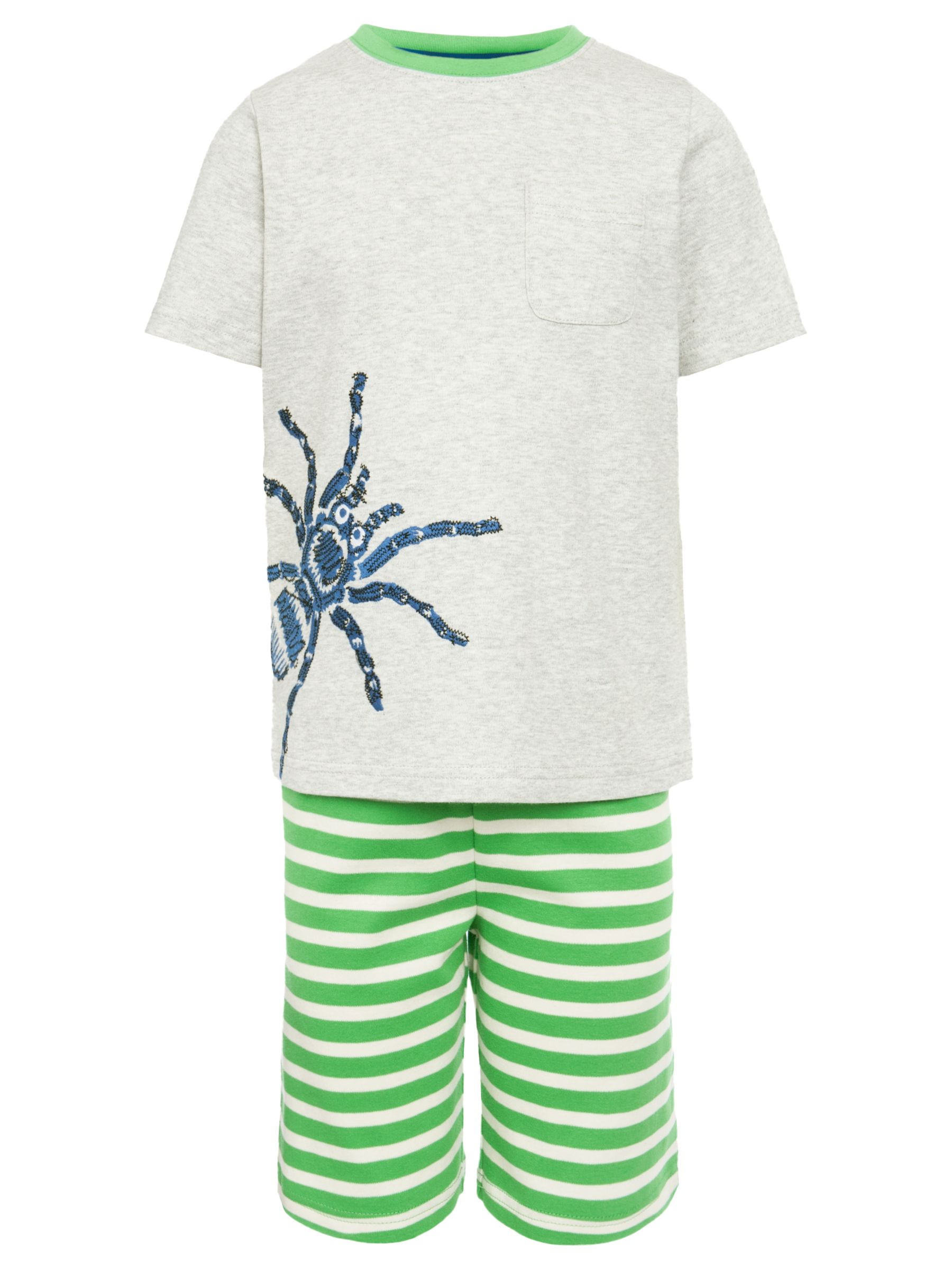 John Lewis Boy Spider Stripe Short Pyjamas, Grey/Green