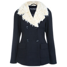 Buy Miss Selfridge Faux Fur Collar Pea Coat, Navy Online at johnlewis.com