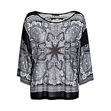 Buy Mango Dolman Sleeve Paisley Tee, Black Online at johnlewis.com