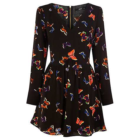 Buy Oasis Hollie Dress, Black Multi Online at johnlewis.com
