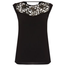 Buy Oasis Metallic Lace T-shirt, Black Online at johnlewis.com