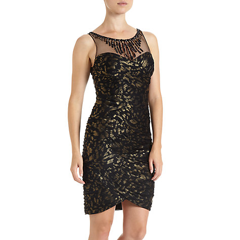 Buy Adrianna Papell Short Shirred Dress, Black/Gold Online at johnlewis.com