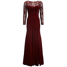 Buy Adrianna Papell Lace Bodice Trumpet Gown, Bordeaux Online at johnlewis.com