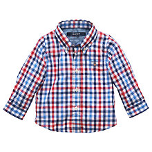 Buy Gant Babys' Long Sleeve Gingham Shirt, Red/Blue Online at johnlewis.com