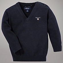 Buy Gant Cotton Knit Jumper, Navy Online at johnlewis.com