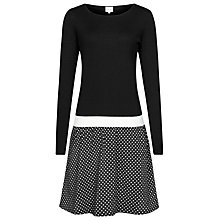 Buy Reiss Houston Knit and Jersey Dress, Black/Cream Online at johnlewis.com