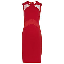 Buy Reiss Evangeline Lace Panel Bodycon Dress, Red Online at johnlewis.com