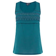 Buy Warehouse Lace Trim Satin Vest, Blue Online at johnlewis.com