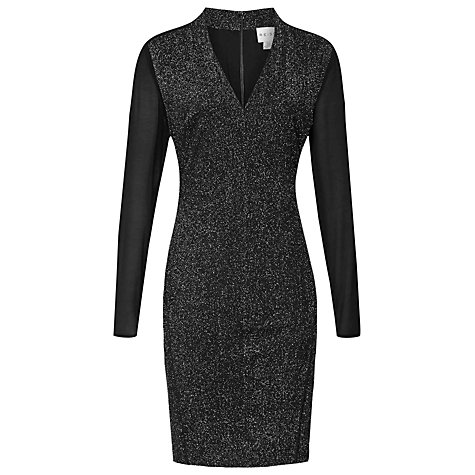 Buy Reiss Jagger Sheer Sleeve Bodycon Dress, Silver Online at johnlewis.com