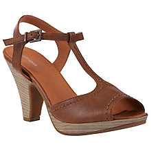 Buy John Lewis Leather T-Bar Sandals, Tan Online at johnlewis.com