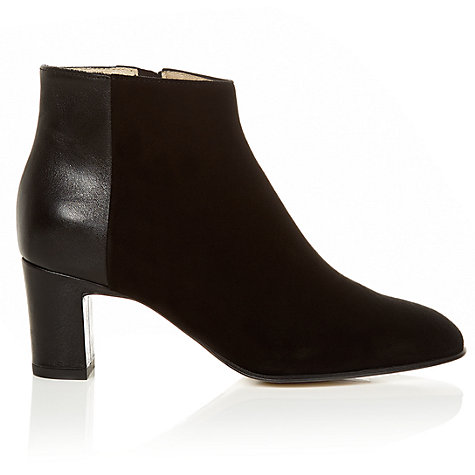 Buy Hobbs Ondine Suede Mix Ankle Boots, Black Online at johnlewis.com