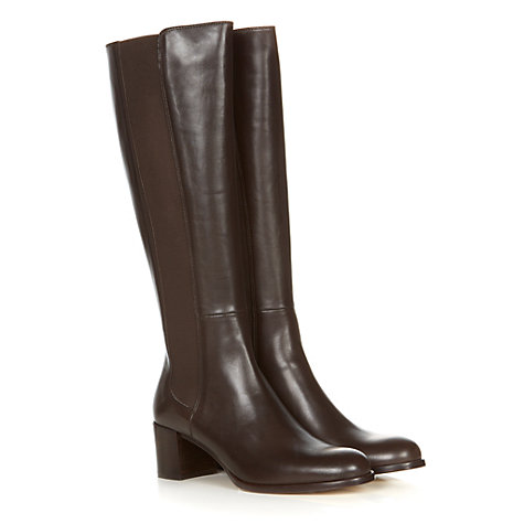 Buy Hobbs Lucy Calf Boots, Chocolate Online at johnlewis.com