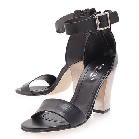 Buy Carvela Krispy Leather Block Heel Sandals, Black Online at johnlewis.com