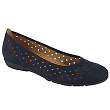 Buy Gabor Ruffle Punched Detail Casual Shoes, Navy Nubuck Online at johnlewis.com