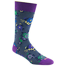 Buy Duchamp Floral Print Socks, Navy/Purple Online at johnlewis.com