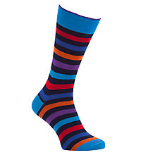 Buy Duchamp Regular Stripe Socks, Navy/Orange Online at johnlewis.com