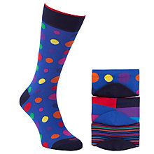 Buy Duchamp Patterned Socks, Pack of 3, Purple/Red Online at johnlewis.com
