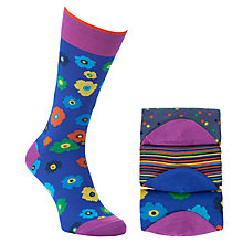 Buy Duchamp Patterned Socks, Pack of 3, Blue/Purple Online at johnlewis.com
