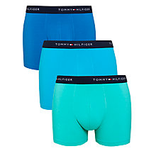 Buy Tommy Hilfiger Classic Stretch Trunks, Pack of 3, Turquoise Online at johnlewis.com