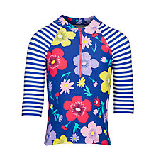 Buy John Lewis Girl Floral Print Sunshirt, Blue Online at johnlewis.com