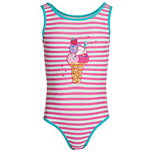 Buy John Lewis Girl Stripe Ice Cream Swimsuit, Pink/White Online at johnlewis.com