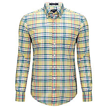 Buy Gant Check Poplin Cotton Check Shirt, Yellow/Multi Online at johnlewis.com