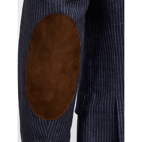 Buy Gant Pinstripe Linen Elbow Patch Blazer, Navy Online at johnlewis.com