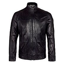 Buy BOSS Orange Sheepskin Leather Jacket, Black Online at johnlewis.com
