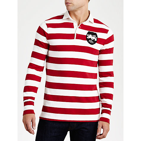 Buy Polo Ralph Lauren Bar Stripe Rugby Shirt, Red/White Online at johnlewis.com