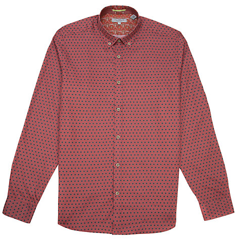 Buy Ted Baker Blarzay Geo Print Shirt, Red Online at johnlewis.com