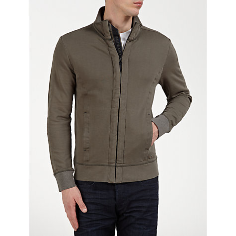 Buy BOSS Orange Zip-Up Sweatshirt, Khaki Online at johnlewis.com