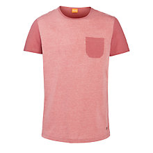 Buy BOSS Orange Contrast Pocket T-Shirt, Red Online at johnlewis.com