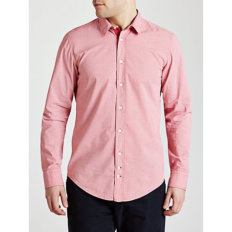 Buy BOSS Orange Geometric Print Long Sleeve Shirt, Pink Online at johnlewis.com