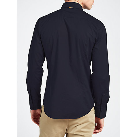 Buy BOSS Orange Stretch Cotton Long Sleeve Shirt, Navy Online at johnlewis.com