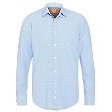 Buy BOSS Orange Flower Bud Motif Long Sleeve Shirt, Blue Online at johnlewis.com