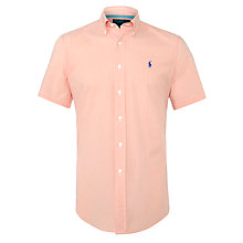 Buy Polo Ralph Lauren Gingham Short Sleeve Shirt, Orange/White Online at johnlewis.com