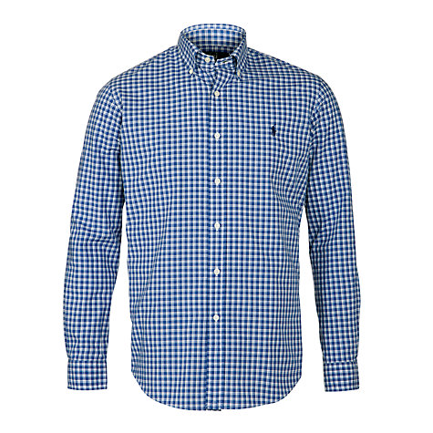 Buy Polo Ralph Lauren Poplin Cotton Check Shirt, Blue/White Online at johnlewis.com