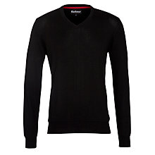 Buy Barbour Cashmere Blend V-Neck Jumper, Black Online at johnlewis.com