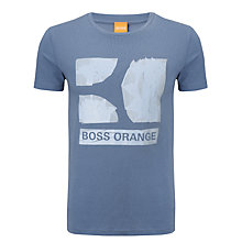 Buy BOSS Orange Crew Neck Logo T-Shirt, Blue Online at johnlewis.com