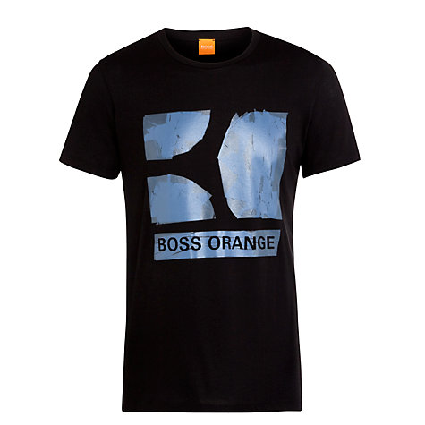 Buy BOSS Orange Graphic Logo T-Shirt, Black Online at johnlewis.com