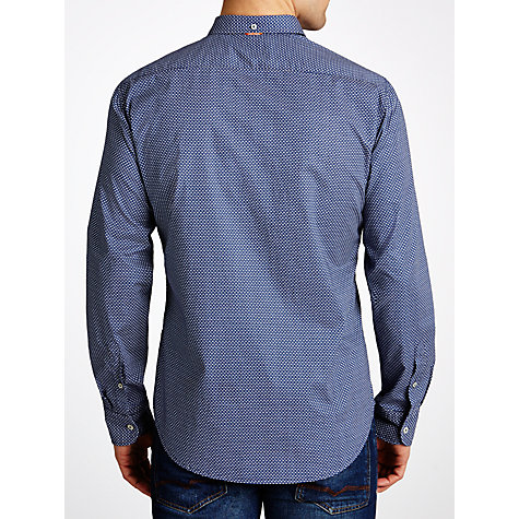 Buy BOSS Orange Micro Square Dobby Long Sleeve Shirt, Blue Online at johnlewis.com