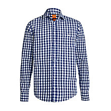 Buy BOSS Orange Check Slim Fit Long Sleeve Shirt, Blue/White Online at johnlewis.com