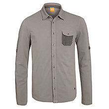 Buy BOSS Orange Pique Cotton Long Sleeve Shirt, Grey Online at johnlewis.com