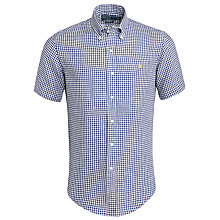 Buy Polo Ralph Lauren Gingham Short Sleeve Linen Shirt, Navy/White Online at johnlewis.com