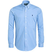 Buy Polo Ralph Lauren Striped Custom Fit Poplin Cotton Long Sleeve Shirt, Blue/White Online at johnlewis.com