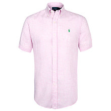 Buy Polo Ralph Lauren Gingham Short Sleeve Linen Shirt, Pink/White Online at johnlewis.com