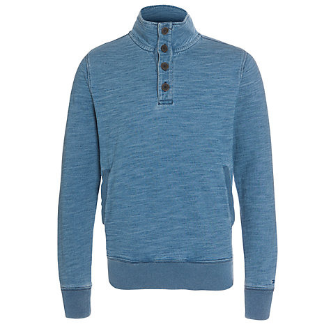 Buy Tommy Hilfiger Harry Button-Neck Sweatshirt, Blue Online at johnlewis.com